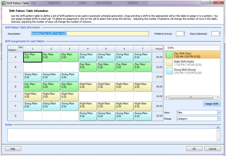 Employee Scheduling Example: 24/7, 8-hr rotating shifts, employees ...