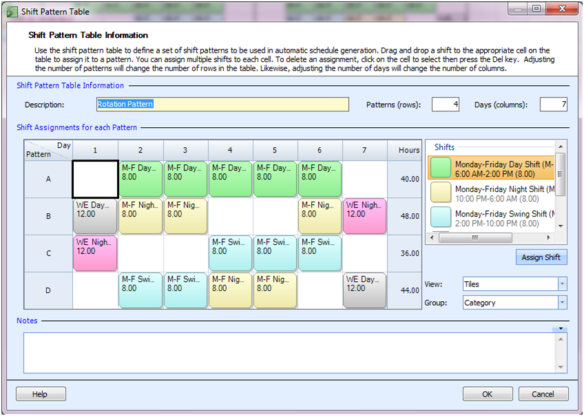Employee Scheduling Example: 24/7, 8 hr shifts on weekdays, 12 hr ...