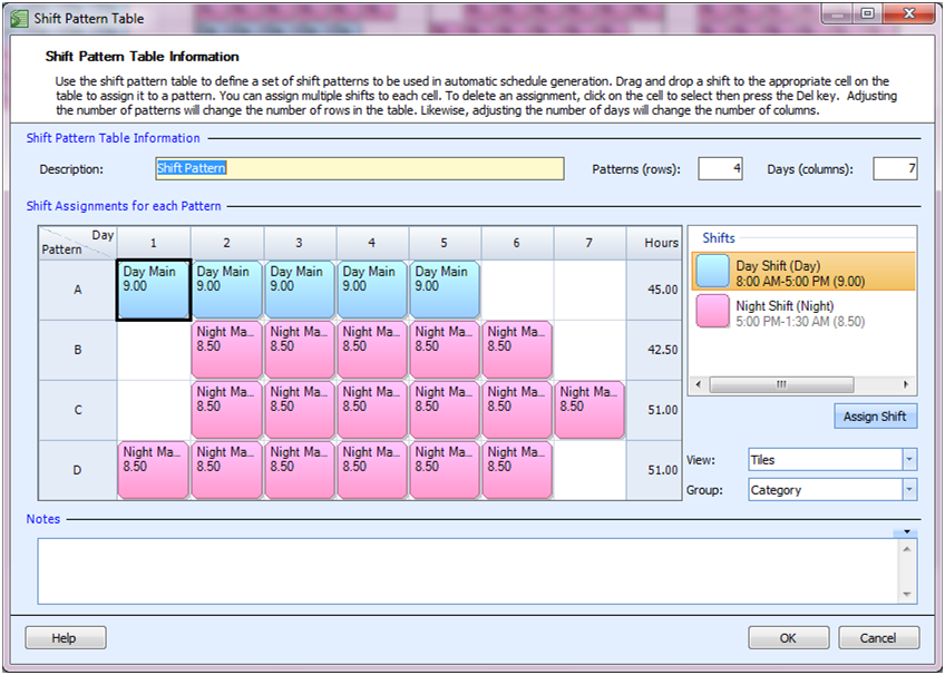 employee scheduling example 5 day shifts 7 night shifts higher night demand